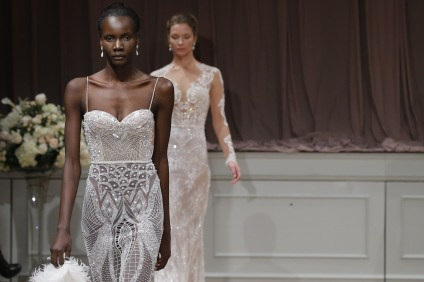 NEW YORK, NY - OCTOBER 09: Models walk the runway at the Alon Livne White 2017 Bridal Collection at the Bohemian Benevolent and Literary Association on October 9, 2016 in New York City. (Photo by JP Yim/Getty Images for ALON LIVNE)